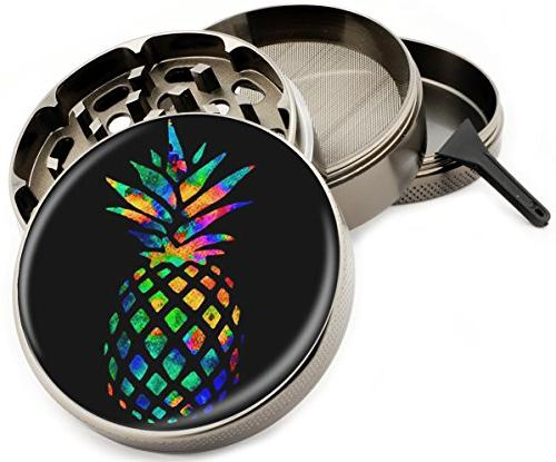 Rainbow Pineapple Colorful 4 Piece Large Silver Aluminum or