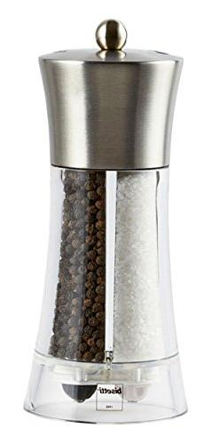 "Bisetti Acrylic Stainless Steel Salt and Pepper Mill, 7.5"","