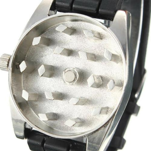 Black New Metal WristWatch Watch Tobacco Grinder Crusher
