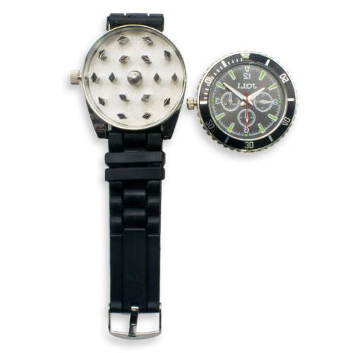 black new metal wristwatch watch herb spice