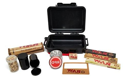 Bundle 11 Items - RAW Smoker's Kit Includes Tight Carrying Case, Rolling Maker, Pre Grinder