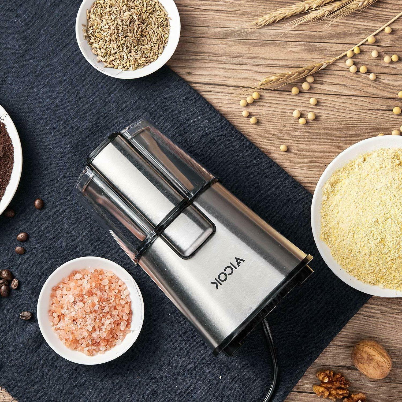 AICOK Coffee Grinder Large Detachable Steel Bowl, Silver