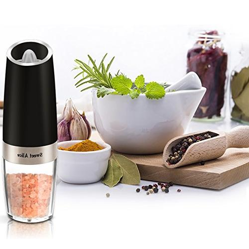Gravity Pepper Grinder, Bottle, Gadgets, Grinder, Spice Tools, Battery Powered,