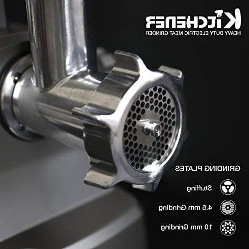 Kitchener Meat Grinder , with Steel Blade, Stainless Steel and Stainless Plate