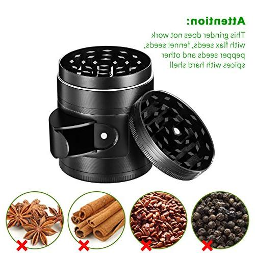 "OMorc Herb Spice Kitchen Grinder with Pollen Catcher, 4-Piece 2"" Duty Aluminum with Scrapper and Window"
