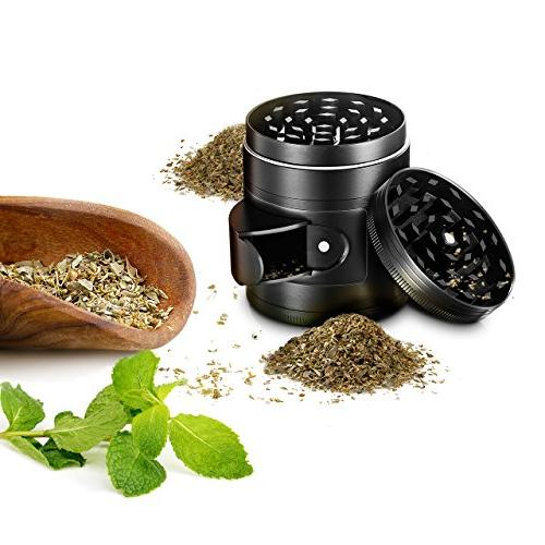 """OMorc Herb Spice Kitchen with Pollen Catcher, 4-Piece 2"""" Duty Aluminum with Scrapper Access Window"""