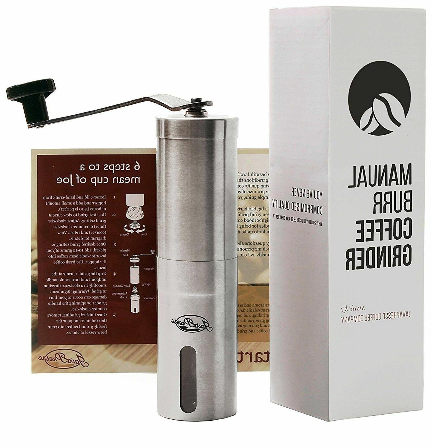 manual coffee grinder conical burr mill brushed