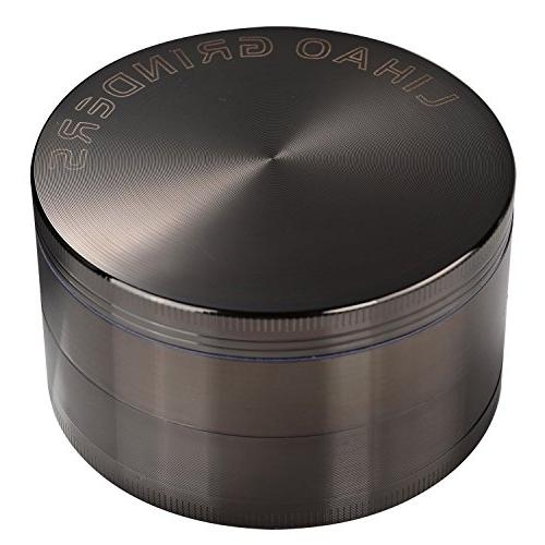 LIHAO 4 Piece Spice Herb Grinder - Nickle Black