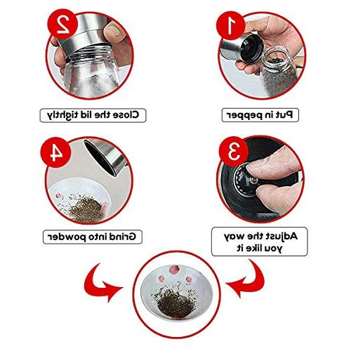 Milltey Stainless Steel and Pepper Set 2 - Pepper Mill Mill, Oz Short Spice Mill & Ceramic Seasoning Tool for Kitchen