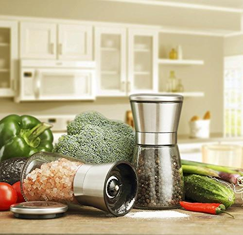 Milltey and Shakers Grinders Set Pepper Mill Mill, Oz Short Spice Mill & with Adjustable Ceramic Rotor Seasoning for