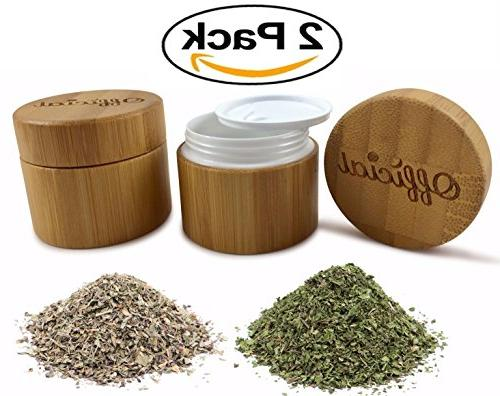 2 Weed Bamboo Smell Container With Airtight Double Seal Travel