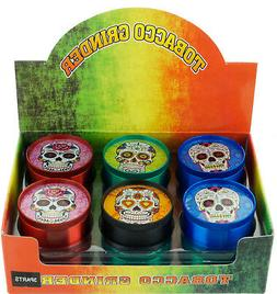 """2"""" 4-Piece Candy Skull Tobacco Herb Spice Grinder Mixed Col"""
