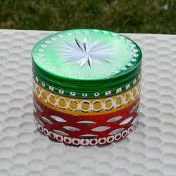 """Red Green Yellow 2.5"""" TOBACCO Grinder Spice Crusher Multic"""