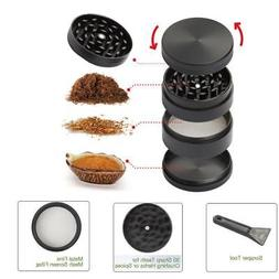 4 Piece Magnetic 2.5 Inch Black Tobacco Herb Grinder Spice A
