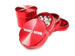 """Hush Crush 2"""" 4-Piece Magnetized Tobacco Herb Grinder - Red"""