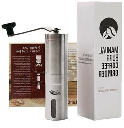 Javapresse Manual Coffee Grinder, Conical Burr Mill, Brushed