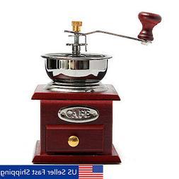 Manual Wooden Mini Coffee Grinder Vintage Hand Coffee Mill w