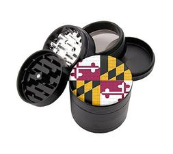 "Maryland Flag Design Micro Crusher 2.5"" Black Grinder With F"