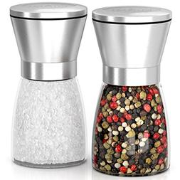 MIUMI Salt & Pepper Mill Shakers Set of 2 - Premium Salt and