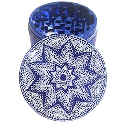 "2.2"" Multi Tooth Custom Grinder w/ Bubble Star Mandala Engra"