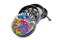"Mushrooms Design Micro Crusher Black 2.5"" 4 Pieces Grinder I"