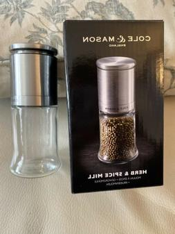 NEW! Cole & Mason Kingsley Glass Herb & Spice Mill Grinder -