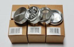 "NIB 1.5"" 4-piece Anodized Aluminum Magnetic Herb Tobacco Spi"