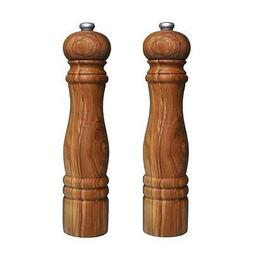 OLIVE WOOD SALT AND PEPPER MILLS / MILL /GRINDER - PAIR OF