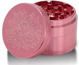 Pink Premium Aluminium Herb Grinder 4-Piece Metal Mill Plln