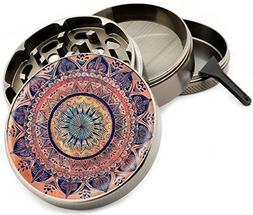 Pink and Purple Mandala Herb Grinder 4 Piece Gun Metal Premi