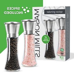 Prefilled Salt and Pepper Grinder Set - Includes Quality Him