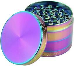 DCOU Rainbow Herb Grinders 2.2 Inches 4 Parts Zinc Alloy Pol