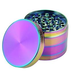 DCOU Rainbow Herb Grinders 2.2 Inches 4 Parts Zinc Alloy Pol