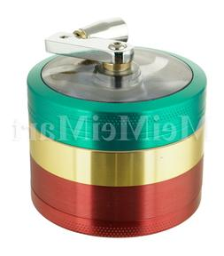 "2.1"" 4 PC Rasta Tobacco Herb Spice Grinder W/ Handle Crank H"