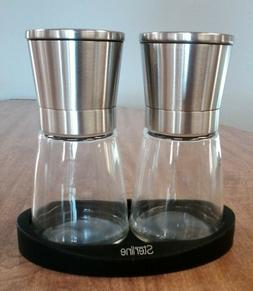 STERLINE Salt & Pepper Glass -Stainless Grinders Set With Ru
