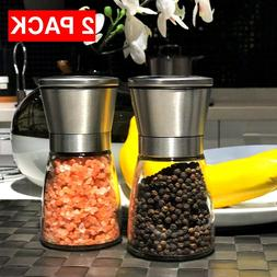 Salt and Pepper Grinder Set Ceramic Mills Stainless Steel Sh