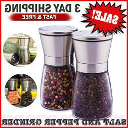 SALT AND PEPPER GRINDER SET Refillable Shakers Adjustable Ce