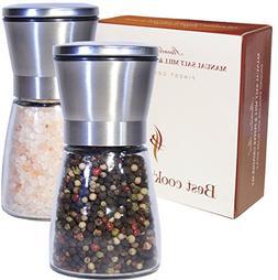 Best Salt and Pepper Grinder Set, Premium Brushed Stainless