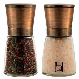 Salt/Pepper Grinder Set Stainless Steel Magnetic Lids Adjust