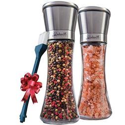 Salt and Pepper Shakers Grinders Set of 2 Glass Mills Brushe