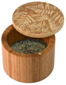 Totally Bamboo Salt Box, Ferns, Etched Bamboo Container With