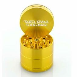 "Small 1.6"" Gold Santa Cruz Shredder Aluminum Herb Grinder 4"
