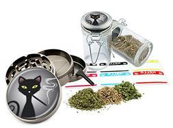 "Smoking Cat - 2.5"" Zinc Alloy Grinder & 75ml Locking Top Gla"