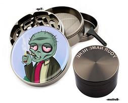 Smoking Zombie Design Large Size Zinc Grinder With Your Name