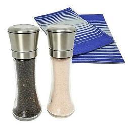 stainless steel salt and pepper grinder set
