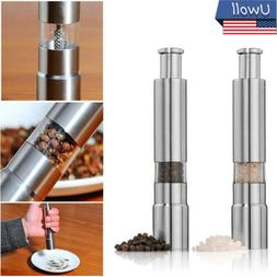 Stainless Steel Thumb Push Salt Pepper Grinder Spice Sauce G