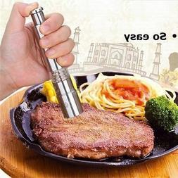Stainless Steel Thumb Push Salt Pepper Grinder Spice Sauce M