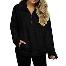 Caopixx Sweatshirt for Women's Casual Long Sleeve Warm Wool