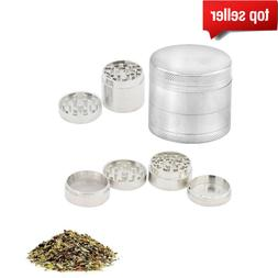 Tobacco 4 Pc Grinder Silver Herb/Spice/Weed/Alloy Smoke Herb