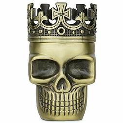 Golden Bell Upgraded Full Metal Spice Herb Skull Grinder -